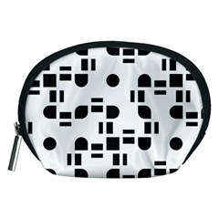 Black And White Pattern Accessory Pouches (medium)  by Simbadda