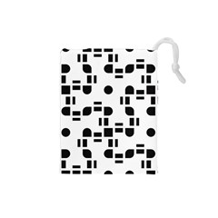 Black And White Pattern Drawstring Pouches (small)