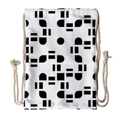 Black And White Pattern Drawstring Bag (large) by Simbadda