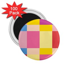 Colorful Squares Background 2 25  Magnets (100 Pack)  by Simbadda