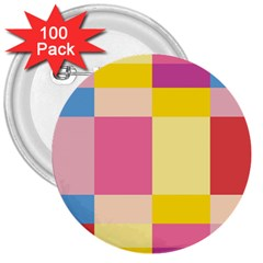 Colorful Squares Background 3  Buttons (100 Pack)  by Simbadda
