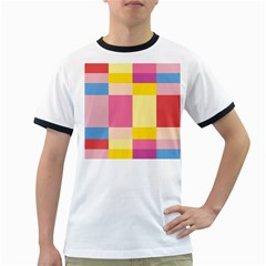 Colorful Squares Background Ringer T Shirts by Simbadda