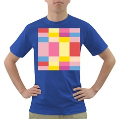 Colorful Squares Background Dark T Shirt