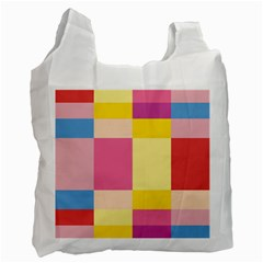 Colorful Squares Background Recycle Bag (two Side)  by Simbadda