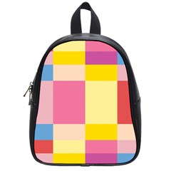 Colorful Squares Background School Bags (small)  by Simbadda