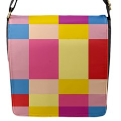 Colorful Squares Background Flap Messenger Bag (s) by Simbadda