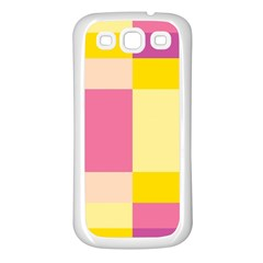 Colorful Squares Background Samsung Galaxy S3 Back Case (white) by Simbadda