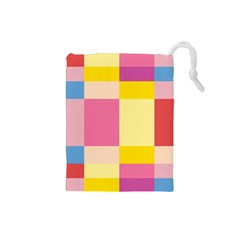 Colorful Squares Background Drawstring Pouches (small)  by Simbadda