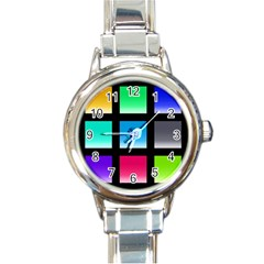 Colorful Background Squares Round Italian Charm Watch by Simbadda