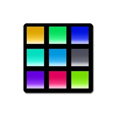 Colorful Background Squares Square Magnet