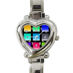 Colorful Background Squares Heart Italian Charm Watch by Simbadda
