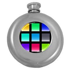 Colorful Background Squares Round Hip Flask (5 Oz) by Simbadda