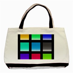 Colorful Background Squares Basic Tote Bag (two Sides) by Simbadda