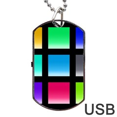 Colorful Background Squares Dog Tag Usb Flash (one Side) by Simbadda