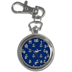 Gold Anchors On Blue Background Pattern Key Chain Watches by Simbadda