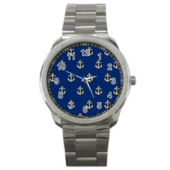 Gold Anchors On Blue Background Pattern Sport Metal Watch by Simbadda