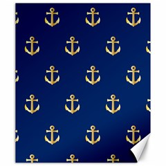 Gold Anchors On Blue Background Pattern Canvas 20  X 24   by Simbadda