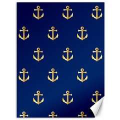 Gold Anchors On Blue Background Pattern Canvas 36  X 48   by Simbadda