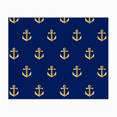 Gold Anchors On Blue Background Pattern Small Glasses Cloth (2 Side) by Simbadda