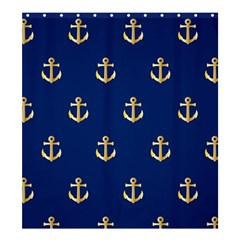 Gold Anchors On Blue Background Pattern Shower Curtain 66  X 72  (large)  by Simbadda