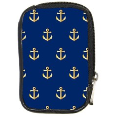 Gold Anchors On Blue Background Pattern Compact Camera Cases by Simbadda