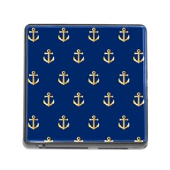 Gold Anchors On Blue Background Pattern Memory Card Reader (square) by Simbadda