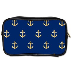 Gold Anchors On Blue Background Pattern Toiletries Bags by Simbadda