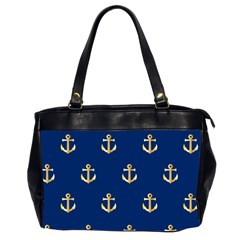 Gold Anchors On Blue Background Pattern Office Handbags (2 Sides)  by Simbadda