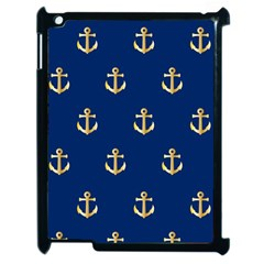 Gold Anchors On Blue Background Pattern Apple Ipad 2 Case (black) by Simbadda