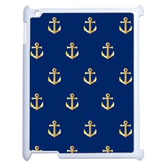 Gold Anchors On Blue Background Pattern Apple Ipad 2 Case (white) by Simbadda