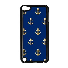 Gold Anchors On Blue Background Pattern Apple Ipod Touch 5 Case (black) by Simbadda