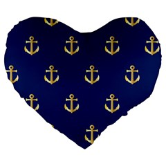 Gold Anchors On Blue Background Pattern Large 19  Premium Heart Shape Cushions by Simbadda