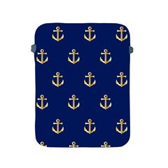 Gold Anchors On Blue Background Pattern Apple Ipad 2/3/4 Protective Soft Cases