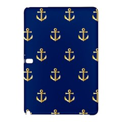 Gold Anchors On Blue Background Pattern Samsung Galaxy Tab Pro 10 1 Hardshell Case by Simbadda