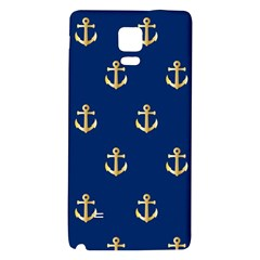 Gold Anchors On Blue Background Pattern Galaxy Note 4 Back Case by Simbadda