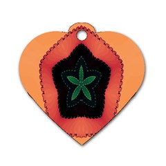 Fractal Flower Dog Tag Heart (one Side) by Simbadda