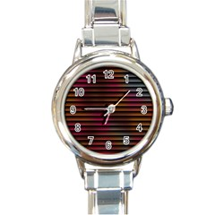 Colorful Venetian Blinds Effect Round Italian Charm Watch by Simbadda