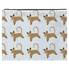 Cute Cats Seamless Wallpaper Background Pattern Cosmetic Bag (xxxl)  by Simbadda
