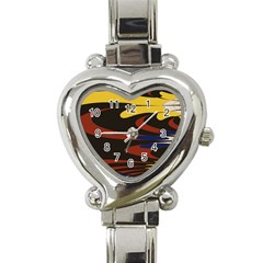 Peacock Abstract Fractal Heart Italian Charm Watch