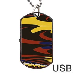 Peacock Abstract Fractal Dog Tag Usb Flash (one Side) by Simbadda