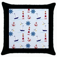 Seaside Nautical Themed Pattern Seamless Wallpaper Background Throw Pillow Case (black) by Simbadda