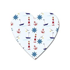Seaside Nautical Themed Pattern Seamless Wallpaper Background Heart Magnet by Simbadda