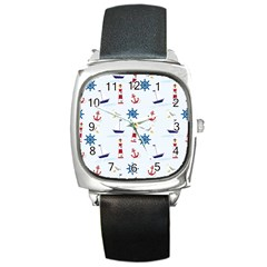 Seaside Nautical Themed Pattern Seamless Wallpaper Background Square Metal Watch