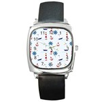 Seaside Nautical Themed Pattern Seamless Wallpaper Background Square Metal Watch Front