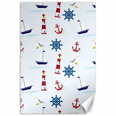 Seaside Nautical Themed Pattern Seamless Wallpaper Background Canvas 24  X 36  by Simbadda
