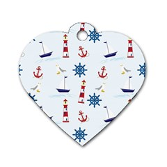 Seaside Nautical Themed Pattern Seamless Wallpaper Background Dog Tag Heart (two Sides) by Simbadda