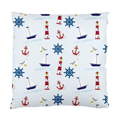 Seaside Nautical Themed Pattern Seamless Wallpaper Background Standard Cushion Case (one Side)