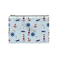 Seaside Nautical Themed Pattern Seamless Wallpaper Background Cosmetic Bag (medium)  by Simbadda
