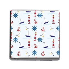Seaside Nautical Themed Pattern Seamless Wallpaper Background Memory Card Reader (square) by Simbadda