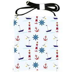Seaside Nautical Themed Pattern Seamless Wallpaper Background Shoulder Sling Bags by Simbadda